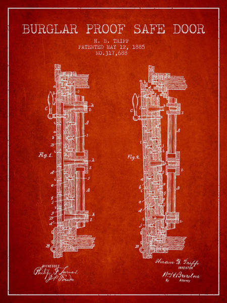 Banking Digital Art - 1885 Bank Safe Door Patent - Red by Aged Pixel