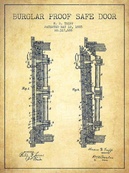Banking Digital Art - 1885 Bank Safe Door Patent - Vintage by Aged Pixel