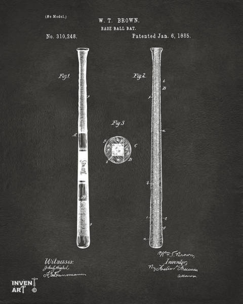 Patent Drawing Wall Art - Digital Art - 1885 Baseball Bat Patent Artwork - Gray by Nikki Marie Smith