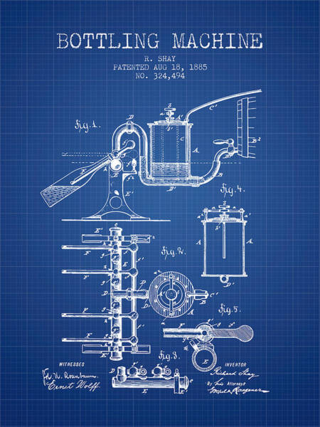Brewery Digital Art - 1885 Bottling Machine Patent - Blueprint by Aged Pixel