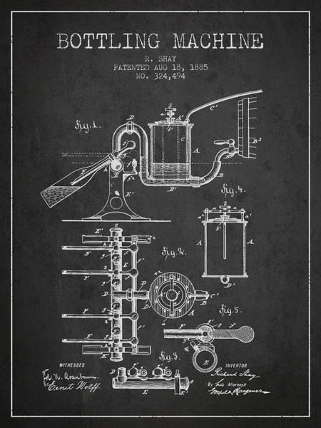 Brewery Digital Art - 1885 Bottling Machine Patent - Charcoal by Aged Pixel