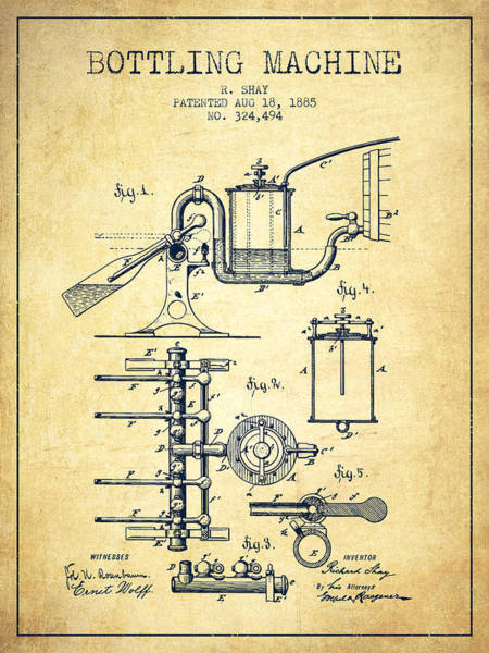 Brewery Digital Art - 1885 Bottling Machine Patent - Vintage by Aged Pixel