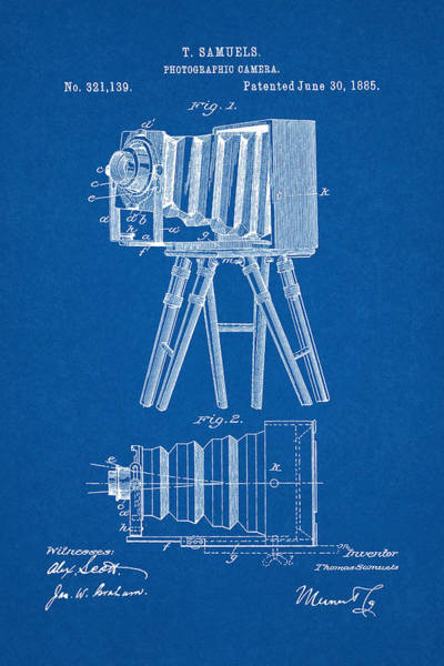 Digital Art - 1885 Camera Us Patent Invention Drawing - Blueprint by Todd Aaron