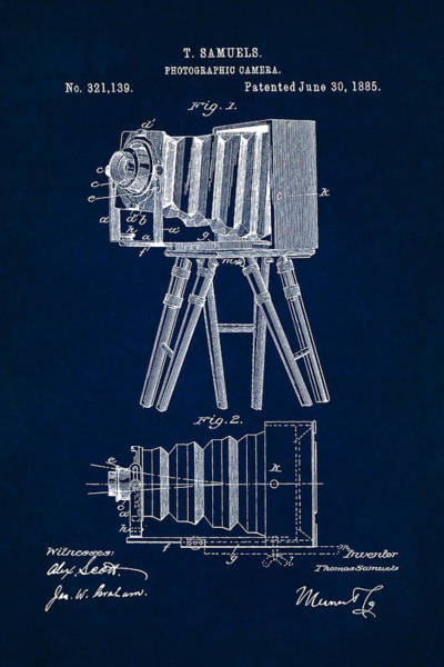 Digital Art - 1885 Camera Us Patent Invention Drawing - Dark Blue by Todd Aaron