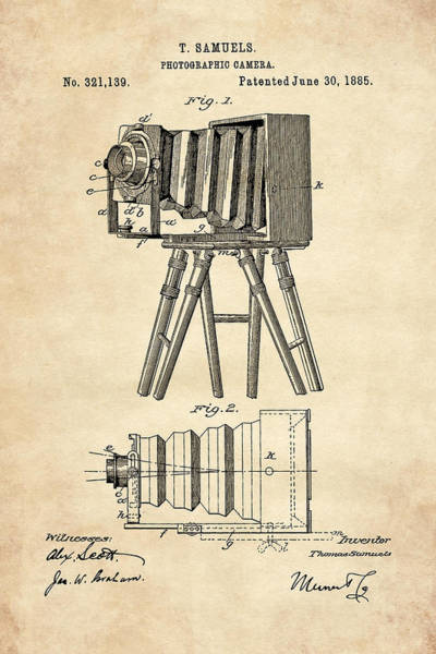 Digital Art - 1885 Camera Us Patent Invention Drawing - Vintage Tan by Todd Aaron