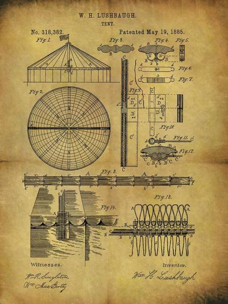 Wall Art - Drawing - 1885 Circus Tent by Dan Sproul