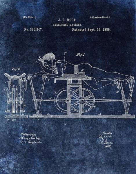 Fitness Mixed Media - 1885 Exercise Machine Patent by Dan Sproul