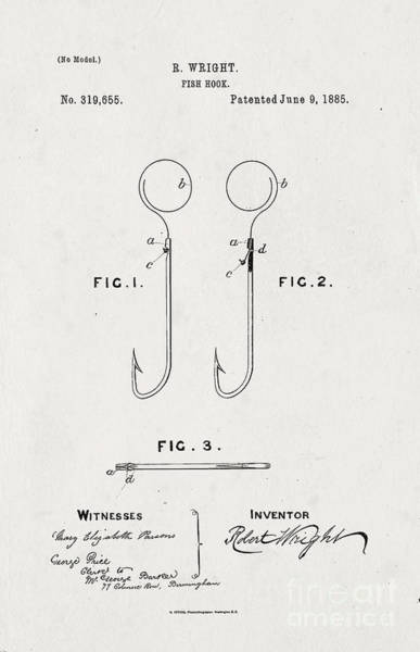 Fishing Pole Digital Art - 1885 Fish Hook Patent by John Stephens