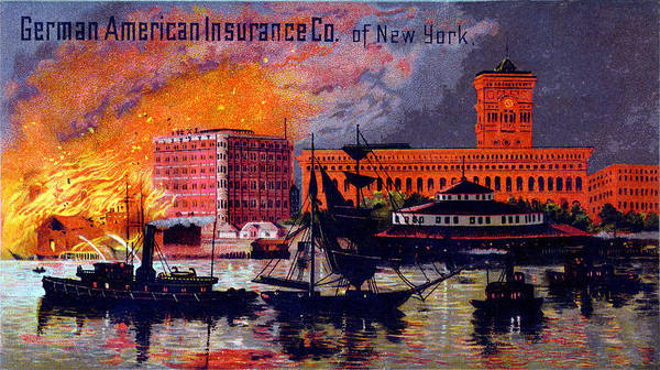 Fireboat Wall Art - Painting - 1885 German American Insurance Of New York by Historic Image