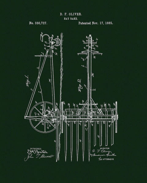 Drawing - 1885 Hay Rake Patent by Dan Sproul
