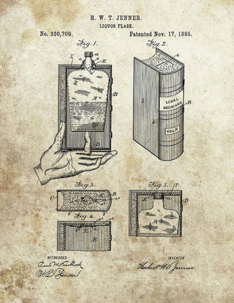 Drawing - 1885 Liquor Flask Patent by Dan Sproul