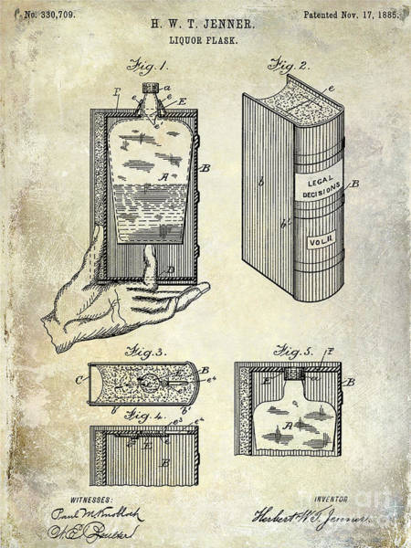 Flask Wall Art - Photograph - 1885 Liquor Flask Patent by Jon Neidert