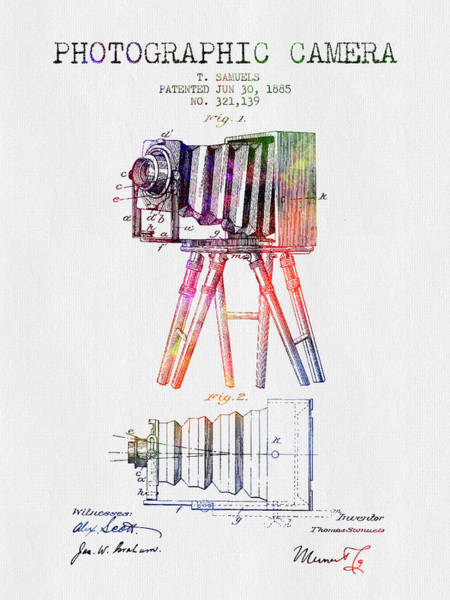 Lens Digital Art - 1885 Photographic Camera Patent - Color by Aged Pixel