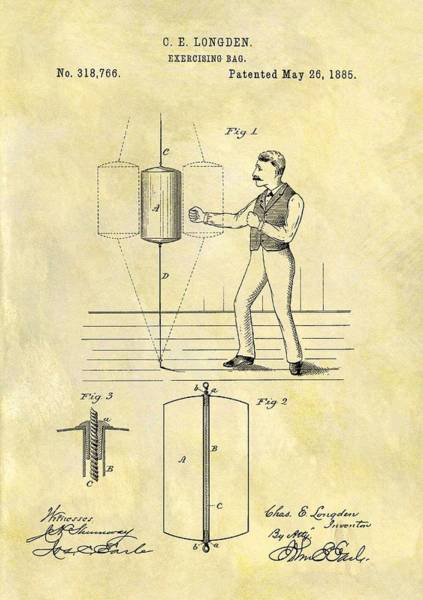 Fitness Mixed Media - 1885 Punching Bag Patent by Dan Sproul