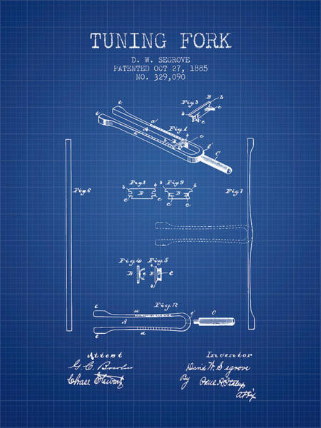 Fork Digital Art - 1885 Tuning Fork Patent - Blueprint by Aged Pixel