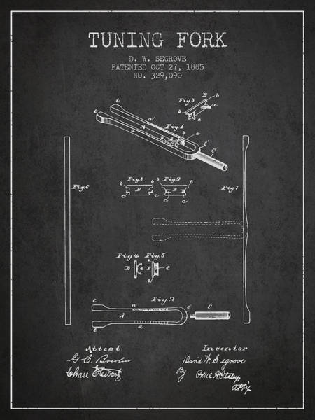 Fork Digital Art - 1885 Tuning Fork Patent - Charcoal by Aged Pixel