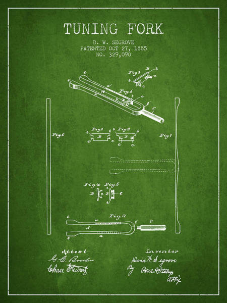Fork Digital Art - 1885 Tuning Fork Patent - Green by Aged Pixel