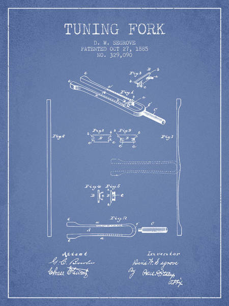 Fork Digital Art - 1885 Tuning Fork Patent - Light Blue by Aged Pixel