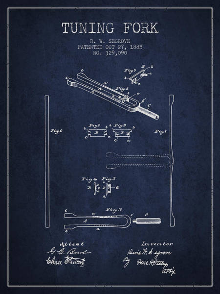 Fork Digital Art - 1885 Tuning Fork Patent - Navy Blue by Aged Pixel