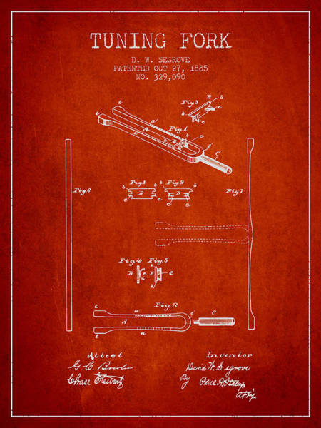 Fork Digital Art - 1885 Tuning Fork Patent - Red by Aged Pixel