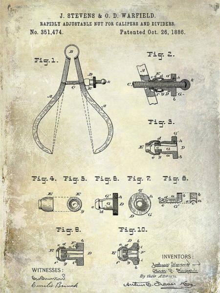 Drafting Photograph - 1886 Caliper And Dividers Patent by Jon Neidert