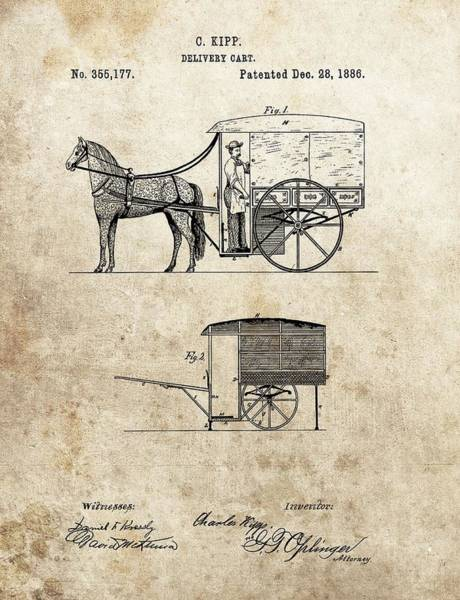 Drawing - 1886 Delivery Cart Patent by Dan Sproul