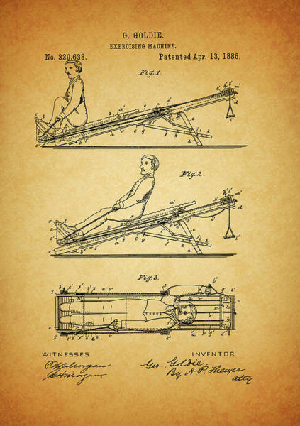 Fitness Mixed Media - 1886 Exercising Machine Patent by Dan Sproul