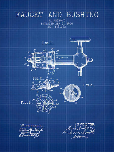 Brewery Digital Art - 1886 Faucet And Bushing Patent - Blueprint by Aged Pixel