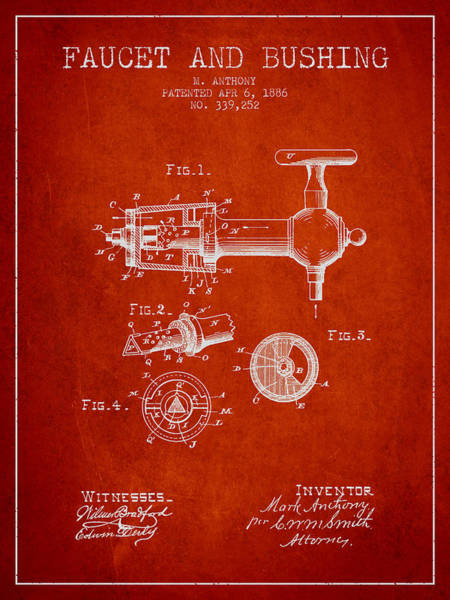 Brewery Digital Art - 1886 Faucet And Bushing Patent - Red by Aged Pixel