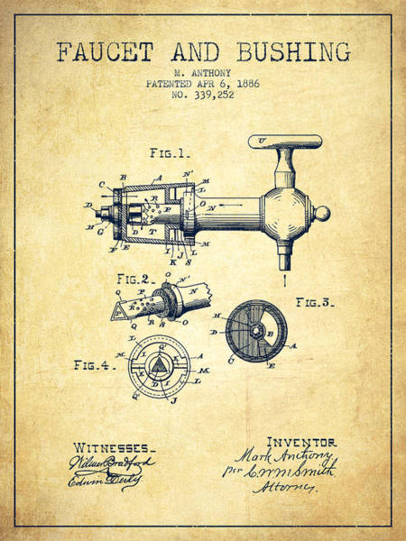 Brewery Digital Art - 1886 Faucet And Bushing Patent - Vintage by Aged Pixel