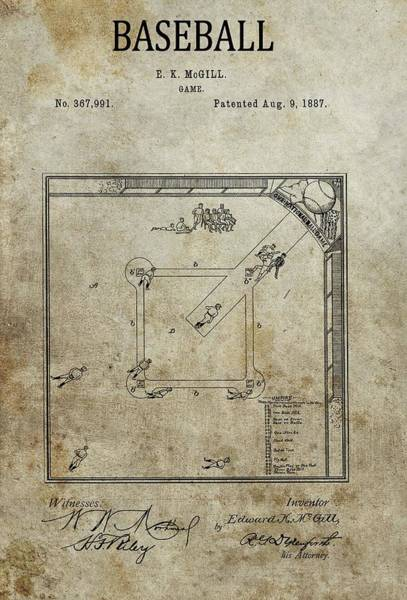 Drawing - 1887 Baseball Game Patent by Dan Sproul