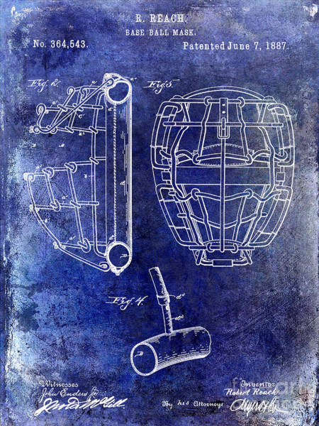 Wall Art - Photograph - 1887 Baseball Mask Patent Blue by Jon Neidert
