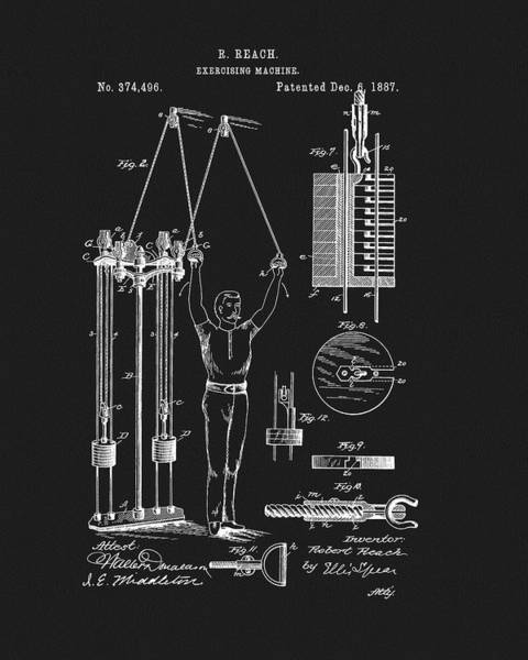 Fitness Mixed Media - 1887 Exercise Apparatus Patent by Dan Sproul