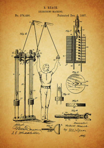 Mixed Media - 1887 Exercising Machine Patent by Dan Sproul