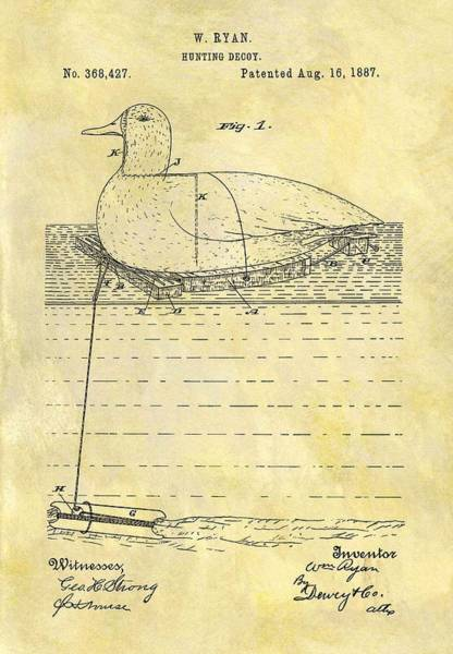 Duck Hunting Drawing - 1887 Hunting Decoy Patent by Dan Sproul