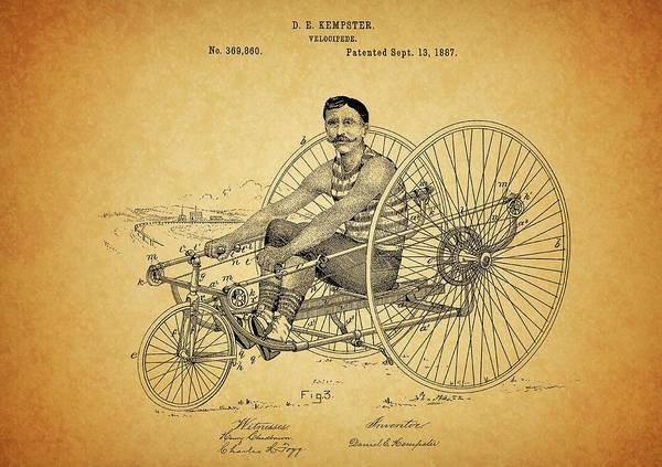 Drawing - 1887 Velocipede Patent by Dan Sproul