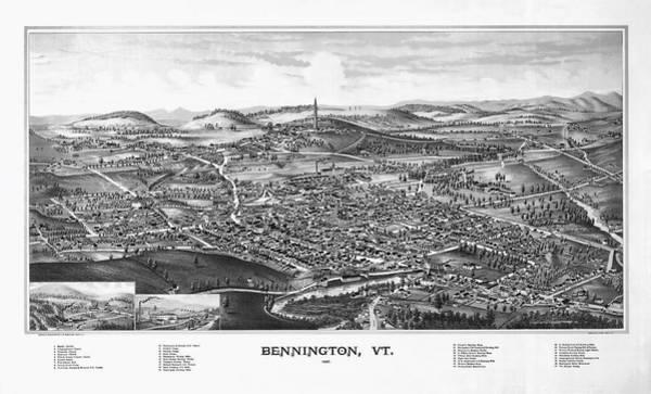 Catamount Photograph - 1887 Vintage Map Of Bennington Vermont by Stephen Stookey