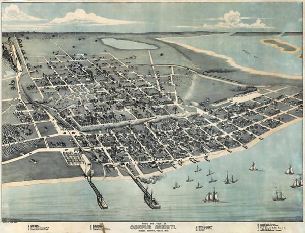 Wall Art - Photograph - 1887 Vintage Map Of Corpus Christi by Stephen Stookey