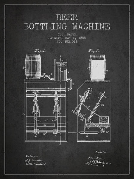 Brewery Digital Art - 1888 Beer Bottling Machine Patent - Charcoal by Aged Pixel