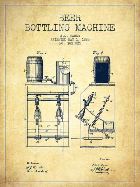 Wall Art - Digital Art - 1888 Beer Bottling Machine Patent - Vintage by Aged Pixel