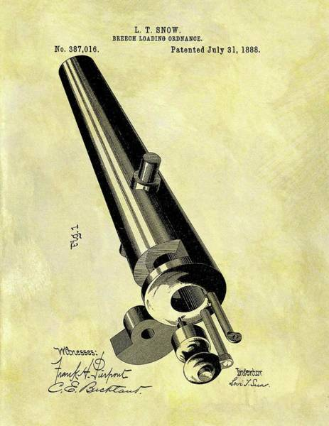 Drawing - 1888 Cannon Patent by Dan Sproul