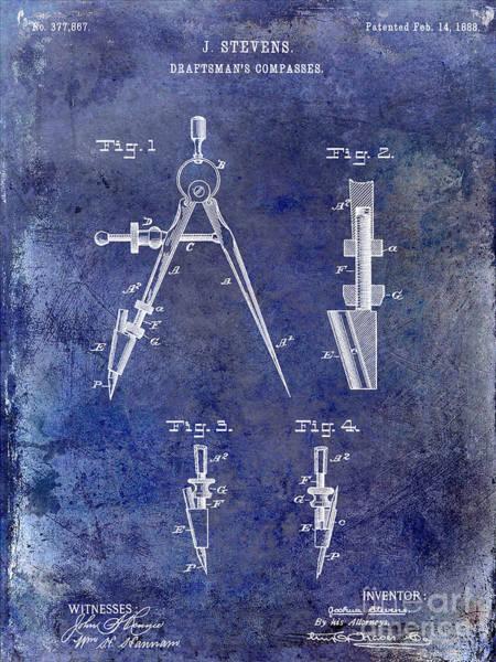 Drafting Photograph - 1888 Draftsmans Compass Patent Blue by Jon Neidert