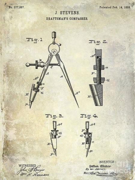 Drafting Photograph - 1888 Draftsmans Compass Patent  by Jon Neidert