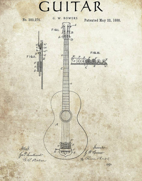 Drawing - 1888 Guitar Patent by Dan Sproul