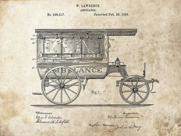 Drawing - 1889 Ambulance Patent by Dan Sproul