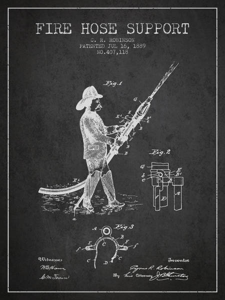 Fireman Wall Art - Digital Art - 1889 Fire Hose Support Patent - Charcoal by Aged Pixel