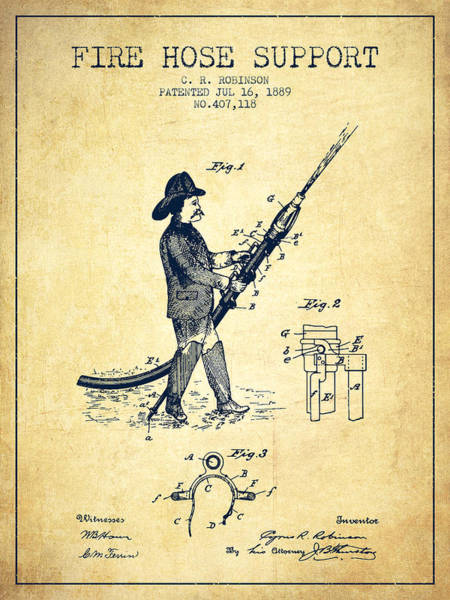 Fireman Wall Art - Digital Art - 1889 Fire Hose Support Patent - Vintage by Aged Pixel