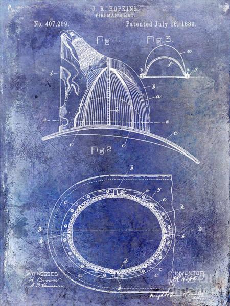 Firemen Photograph - 1889 Firemans Hat Patent Blue by Jon Neidert