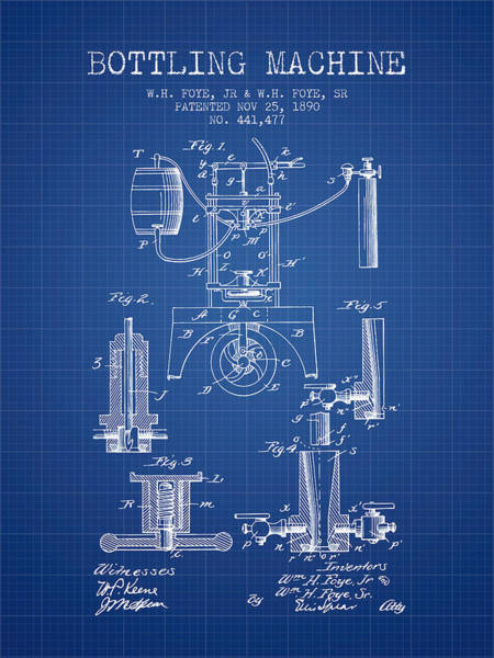 Brewery Digital Art - 1890 Bottling Machine Patent - Blueprint by Aged Pixel