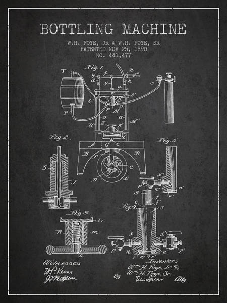 Brewery Digital Art - 1890 Bottling Machine Patent - Charcoal by Aged Pixel